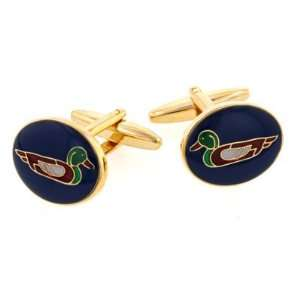 Enameled duck image cufflinks with presentation box. Jewelry