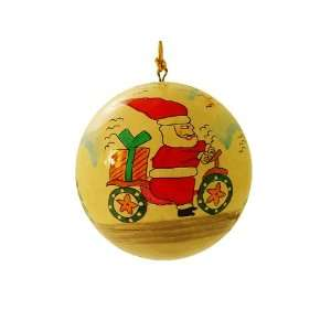 Hand Painted Paper Mache Christmas Ornament Santa on Bike