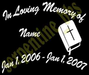 In Memory Of Custom Vinyl Decal Sticker 15 Options   A