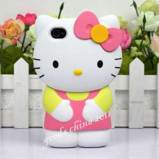 3D Hello Kitty Hard Case Cover Skin for iPhone4 4S Strong Plastic