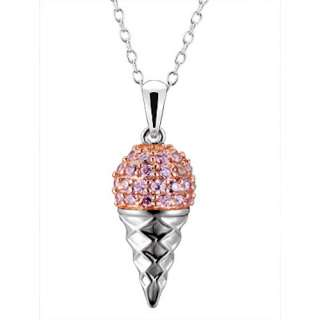 Cz Cubic Zirconia Ice Cream Cone Charm Pendant/Necklace 18
