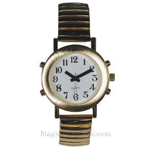 Ladies 4 Button White Face Gold Tone Talking Watch