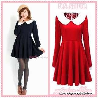yrfashion Korean Fashion Women Vintage Dolly Collar High Waisted