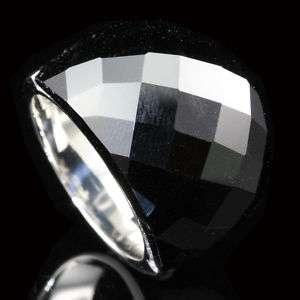 Huge Black Onyx Stainless Steel Gem Ring