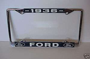 1936 Ford 36 License plate frame NEW Chrome Blue WOW S