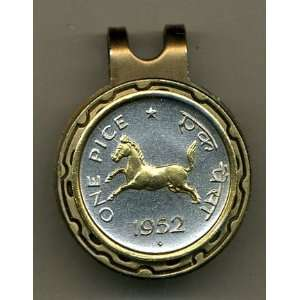 India 1 Pice Horse Two Tone Coin Golf Ball Marker