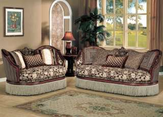 Traditional Cherry Brown Solid Wood Fabric Sofa Loveseat 2 Pc Living