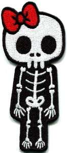 Skull skeleton goth punk emo horror biker applique iron on patch new S