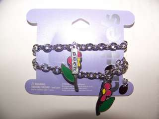 Claires Silver Chain Best Friends Flower Bracelets