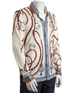 Gucci ivory belt printed silk jersey button front shirt   up