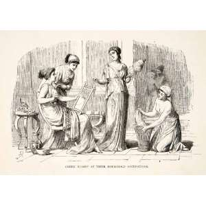 1886 Wood Engraving Greek Women Costume Dress Toga