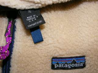 Patagonia Deep Pile Fleece Vest Jacket Mens XL SWEET Beige Navy