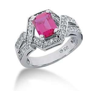 2.15 Ct Diamond Ruby Ring Engagement Emerald cut 14k White