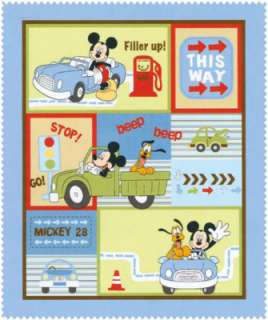 Disney Mickey Mouse Transportation fabric   Quilt Panel