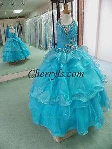 GIRLS 6240 Turquoise Size 6 GIRLS NATIONAL PAGEANT GOWN FORMAL DRESS