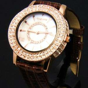 Luxury Leather Crystal Women Rose Gold / Silver Watch [5 Colour