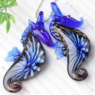 1pc Murano Lampwork Glass Seahorse Inlay Flower Pendant Bead Xmas Gift