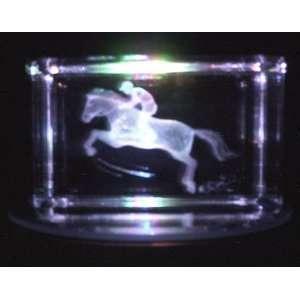 Laser Etched Crystal Jockey on Horse