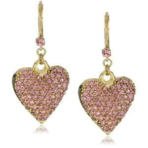 Betsey Johnson Gold Pink Crystal Heart Drop Earrings