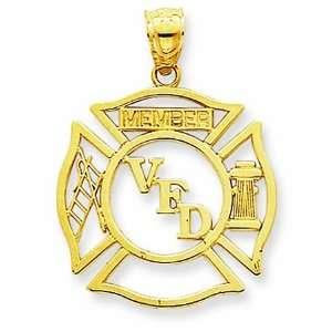 14K Yellow Gold Volunteer Fire Department Member Shield Firefighter