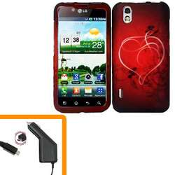 LG Marquee / LS855 Car Charger + Cover Heart Hard Phone Case