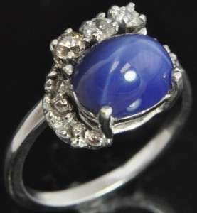 Estate Vtg 14K White Gold Blue Star Sapphire Diamond Solitaire Accents