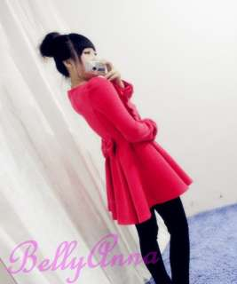 Warm Winter Double Breasted High Waist Ruffle Cashmere Long Coat