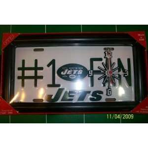 New York Jets Collectible License Plate Clock Frame