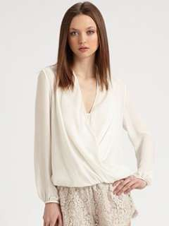 Haute Hippie   Long Sleeve Cowl Wrap Blouse