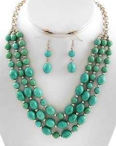 Chunky Turquoise Stone Silver Tone Statement Bib Costume Earring