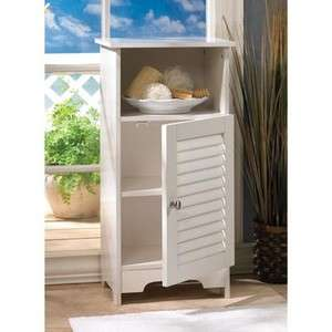 Shabby Cottage Chic white shelf cabinet louvered front simply sweet