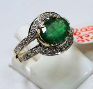 14 cts solid gold diamond Ring genuine Emerald jewelry