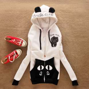 New Ladies Cute Girl Japanese Cat Kitten Ear Shirt Top Jumper Hoodie