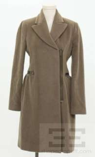 BCBG Max Azria Brown Wool & Cashmere Asymmetric Zip Coat Size XS