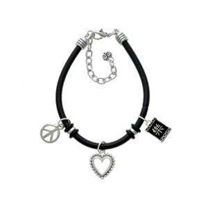 Happiness Black Peace Love Charm Bracelet Arts, Crafts & Sewing
