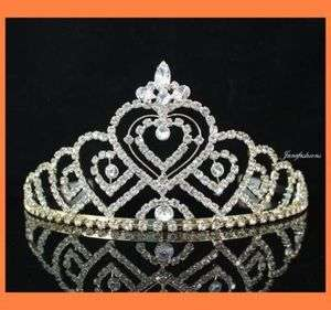 HEART CLEAR RHIESTONE TIARA CROWN WITH COMBS BRIDAL WEDDING JEWELRY