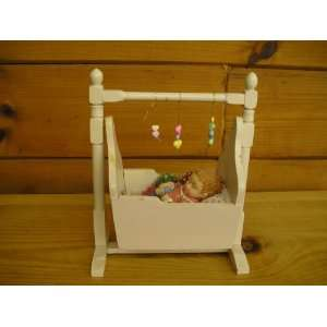 Baby Girl in Wooden Cradle (Baby 5long) (Cradle 10tall