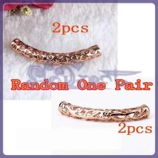 2PCs 18K Gold Plated Bracelet Necklace Tube Beads RARE