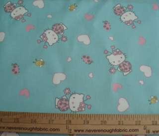COTTON Fabric Sanrio Ladybug Hello Kitty on Aqua BTY