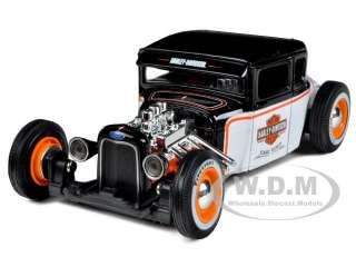 1929 FORD MODEL A HARLEY DAVIDSON WHITE/BLACK 1/24 BY MAISTO 32175