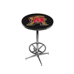 University of Maryland Pub Table   Black   Chrome Base with Footrest