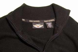 Harley Davidson Sweater Mens XL 1/4 Zip Pockets Black Orange White Top