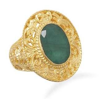 Ornate 14 Karat Gold Plated Rough Cut Emerald Ring