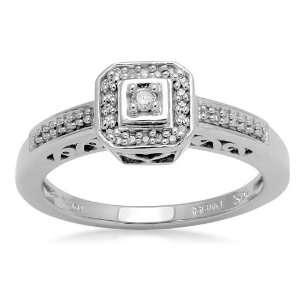 10K White Gold Diamond Engagement Ring (1/10 cttw, I J Color, I2 I3