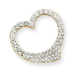 14k Gold Reversible Crystal Open Heart Pendant: Jewelry