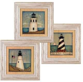 Set/3 Lighthouse Light House Nautical Folk s Art Framed