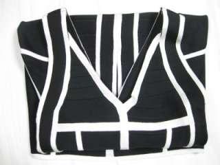 White Black Party Bodycon Bandage Dress XXS XS S M L
