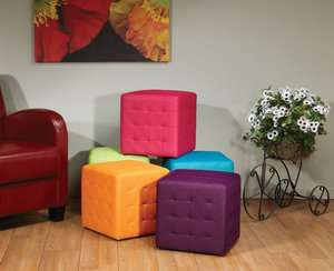 Detour Collection Weave Pattern Ottoman Footstool Side Accent Tables