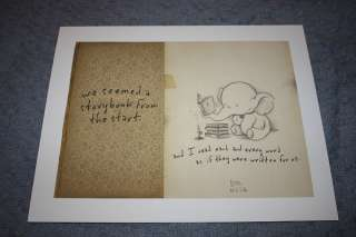 Storybook print. Elephant. Romantic super cute! Book LE!