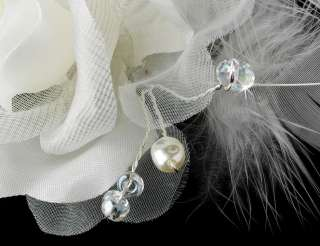 Crystal ROSE Pearl Bridal Feather Fascinator Hair Comb clip 8210s